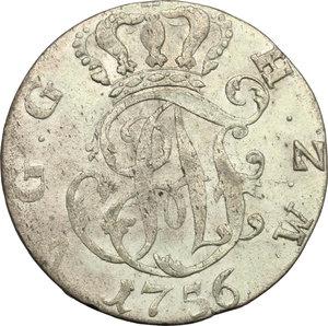 obverse: Germania, Mecklenburg-Sterlitz.  Adolph Friedrich IV (1752-1794).. AR 1/6 Taler, Neusterlitz mint, 1756