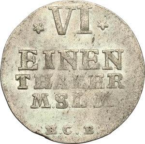 reverse: Germania, Mecklenburg-Sterlitz.  Adolph Friedrich IV (1752-1794).. AR 1/6 Taler, Neusterlitz mint, 1756