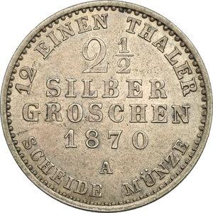 reverse: Germany. Prussia..  Wilhelm I (1861-1888).. AR 2 1/2 Groschen, Berlin mint, 1870