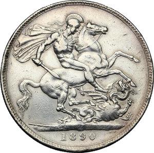 reverse: Great Britain.  Victoria (1837-1901).. AR Crown, 1890