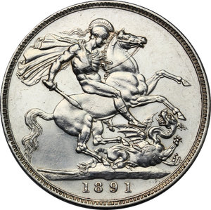 reverse: Great Britain.  Victoria (1837-1901).. AR Crown, 1891