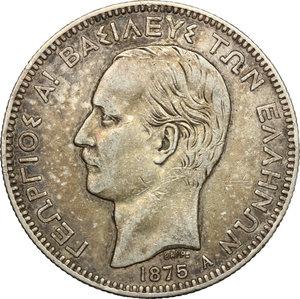 obverse: Greece.  Georgios I (1863-1913).. AR 5 Drachm, 1875