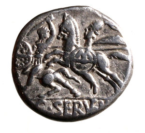 SERVILIA. C. Servilius Vatia (127 b. C.). Denarius. Laureate head of Apollo r.; behind, B and lituus; before, *; below, ROMA, R/ Horseman galloping l., holding round shield inscribed with M, spearing another horseman; in ex. C SERVEIL B. 1, Cr. 370/1b AR g. 3,85. good VF