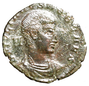 D/ Julian II Caesar (355-360). Aquileia. AE3. D N IVLIANVS NOB CAES Bareheaded, draped, and cuirassed bust r.; M behind R/ FEL TEMP REPARATIO Soldier standing l., holding shield and spearing fallen horseman; shield on ground to right; AQT(palm) in exergue. RIC 223 AE g. 2,25. about EF
