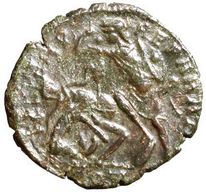 R/ Julian II Caesar (355-360). Aquileia. AE3. D N IVLIANVS NOB CAES Bareheaded, draped, and cuirassed bust r.; M behind R/ FEL TEMP REPARATIO Soldier standing l., holding shield and spearing fallen horseman; shield on ground to right; AQT(palm) in exergue. RIC 223 AE g. 2,25. about EF
