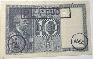 obverse: Banconote. Regno d Italia. 10 Lire. Impero. Sovrastampa Prestito ligure. 1944-XXII.