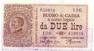obverse: Banconote. Regno d Italia. Buono di cassa da 2 lire. DEC. MIN. 17-10-1921. Gig. BS7E.
