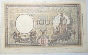 reverse: Banconote. Repubblica Sociale. 100 lire  Grande B. (B.I.) DEC.MIN. 8-10.1943.