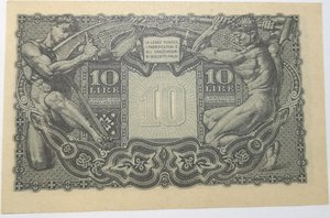 reverse: Banconote. Luogotenenza. 10 Lire. Giove. 23-11-1944. Gig. BS19B.
