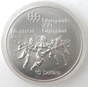 reverse: Canada.Elisabetta II.10 Dollari 1974. Olimpiadi di Montreal 1976. Indiani. AG 925.