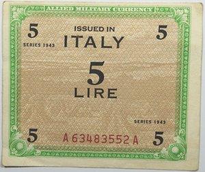 obverse: Banconote. Occupazione Americana. 5 Am lire 1943. Monolingua. FLC.