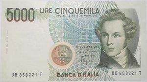 obverse: Banconote. Repubblica Italiana. 5.000 lire. Bellini. Dec . Min. 1988.