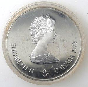 obverse: Canada.Elisabetta II.5 Dollari 1973. Olimpiadi di Montreal 1976. Vele. AG 925.