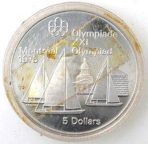 reverse: Canada.Elisabetta II.5 Dollari 1973. Olimpiadi di Montreal 1976. Vele. AG 925.