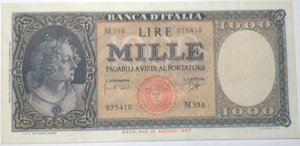 obverse: Banconote. Repubblica Italiana. 1.000 lire. Dec. Min. 25 -09-1961. Rif. Gig. BI 54E.