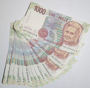obverse: Banconote. Repubblica Italiana. 1.000 lire. Montessori. Lotto di 22 pezzi.