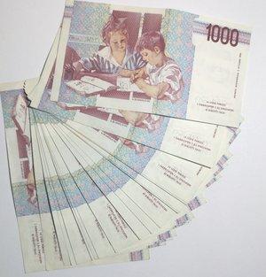 reverse: Banconote. Repubblica Italiana. 1.000 lire. Montessori. Lotto di 22 pezzi.