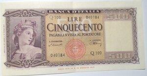 obverse: Banconote. Repubblica Italiana. 500 lire. Spighe. Dec. Min. 20-03-1947.