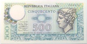 obverse: Banconote. Repubblica Italiana. 500 lire. Mercurio. Dec min. 14-02-1974. Gig. BS26B.