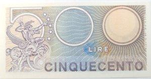 reverse: Banconote. Repubblica Italiana. 500 lire. Mercurio. Dec min. 14-02-1974. Gig. BS26B.