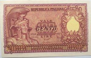 obverse: Banconote. Repubblica Italiana. 100 lire. Italia Elmata. Dec min. 31-12-1951.