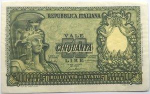 obverse: Banconote. Repubblica Italiana. 50 lire. Italia Elmata. Dec.Min. 31-12-1951.