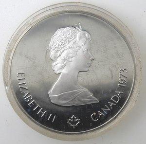 obverse: Canada.Elisabetta II.5 Dollari 1973. Olimpiadi di Montreal 1976. Mappa del Nord America. AG 925.