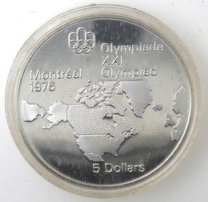 reverse: Canada.Elisabetta II.5 Dollari 1973. Olimpiadi di Montreal 1976. Mappa del Nord America. AG 925.