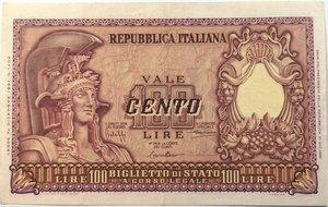 obverse: Banconote. Repubblica Italiana. 100 lire. 31/12/1951. Italia Elmata.