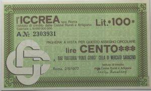 obverse: Miniassegni. ICCREA Istituto di Credito delle Casse Rurali e Artigiane Spa. Lire 100. Bar Trattoria