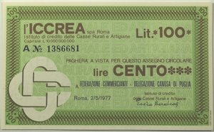 obverse: Miniassegni. ICCREA Istituto di Credito delle Casse Rurali e Artigiane Spa. Lire 100. Federazione Commercianti - Delegazione Canosa di Puglia (BA). 02-05-1977. FDS.