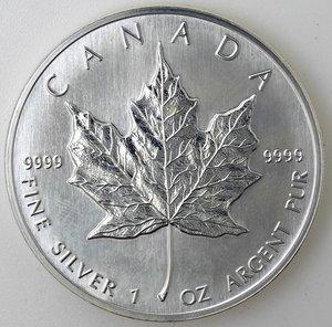reverse: Canada.5 Dollari 1994. foglia d acero. AG 999.