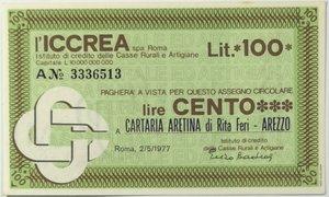 obverse: Miniassegni. ICCREA Istituto di Credito delle Casse Rurali e Artigiane Spa. Lire 100. Cartaria Aretina di Rita Feri - Arezzo. 02-05-1977. FDS.