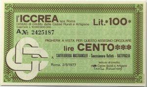 obverse: Miniassegni. ICCREA Istituto di Credito delle Casse Rurali e Artigiane Spa. Lire 100. Cartolibreria Mastrangelo - Battipaglia (SA). 02-05-1977. FDS.