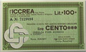 obverse: Miniassegni. ICCREA Istituto di Credito delle Casse Rurali e Artigiane Spa. Lire 100. Oreglia Pier Giorgio - Carrù (CN). 15-06-1977. FDS.