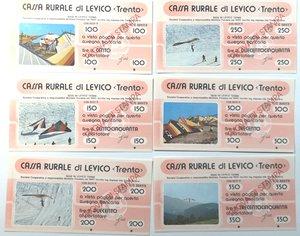 obverse: Miniassegni. Cassa Rurale di Levico. Prova di Stampa. Serie figurativa Deltaplano. Completa di 6 pezzi da 100, 150, 200, 250, 300 e 350 Lire. Al portatore. FDS.