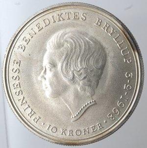 reverse: Danimarca. 10 Corone 1968. Ag 800.