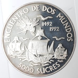 reverse: Ecuador. 5000 Sucre 1991. Ag 925.