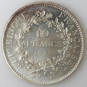 obverse: Francia. 10 Franchi 1967. Ag.