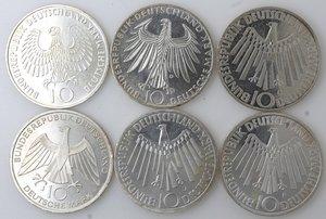 obverse: Germania. Lotto composto da 6 monete da 10 marchi. Ag.