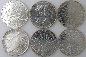 reverse: Germania. Lotto composto da 6 monete da 10 marchi. Ag.