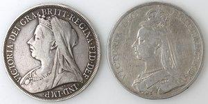 obverse: Gran Bretagna. Lotto composto da 2 monete da 1 Corona 1889 e 1898. Ag.