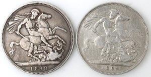 reverse: Gran Bretagna. Lotto composto da 2 monete da 1 Corona 1889 e 1898. Ag.
