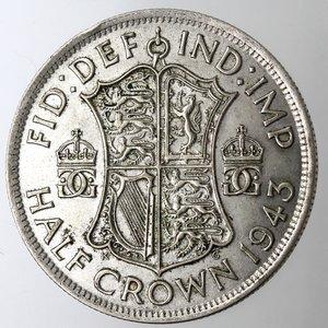 reverse: Gran Bretagna. Giorgio VI. 1936-1952.1\2 Corona 1943. Ag 500.