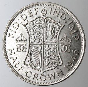 reverse: Gran Bretagna. Giorgio VI. 1\2 Corona 1945. Ag. 500.