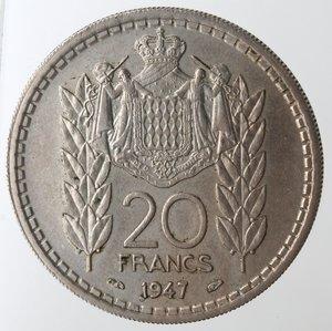 reverse: Monaco. Luigi II. 20 Franchi 1947. Cu-Ni.