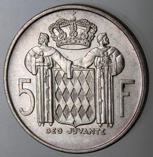 reverse: Monaco. Ranieri III. 5 Franchi 1966. Ag. 835.