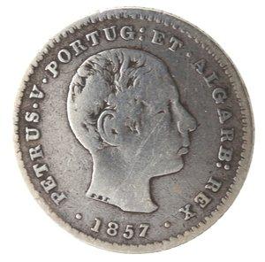 obverse: Portogallo. Pedro V. 1853-1861. 100 Reis 1857. Ag 907.