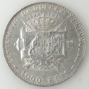 reverse: Portogallo. Manuel II. 1000 Reis 1910. Ag 917.