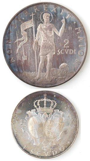 reverse: Sovrano Ordine Militare di Malta. 2 Scudi e 1 Scudo 1973. Ag.